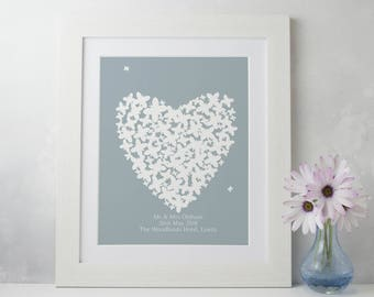 Wedding Gift, Personalised Gift for Bride and Groom, 1 st Anniversary Gift, Framed Personalised Print