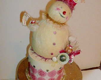 Snowman Handmade Christmas Decor Paper Mache Cotton Batting Pink Party Hat by VintageReinvented