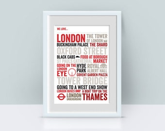 We Love London A4 Typographic Poster