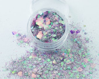 Mermaid Kisses (CM49) Chunky Cosmetic Mixed Glitter - Festival Dance MUA Eye Shadow Face Body Nail Art Tattoo Clubbing