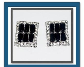 Memorial Day Sale Vintage 1930s Art Deco Clip-On Earrings Black Onyx Baguettes and Crystal Rhinestones