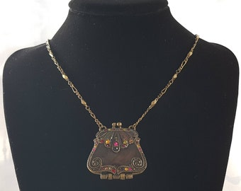 Vintage VCLM Purse Locket Necklace, VCLM Necklace, Locket Necklace, Locket, VCLM