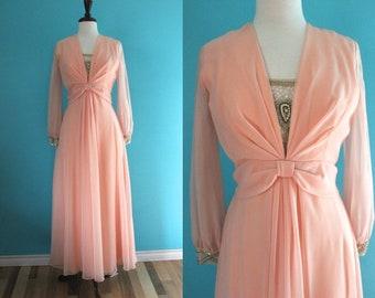70's Prom Dress   Peach Chiffon 70's Prom Dress 70's Formal Dress 70's Gown 70's Party Dress