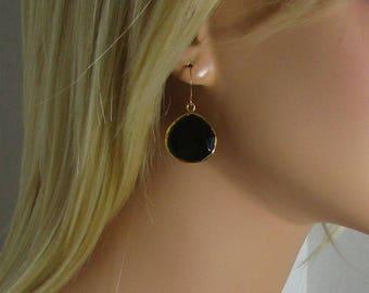 Black Onyx Earrings, Drop Earrings, Double Sided, Teardrop Beads, Faceted Stone, Gold or Silver, 20mm