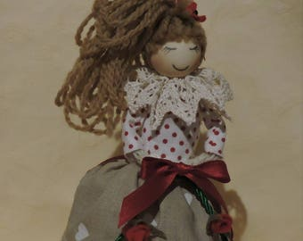 Daisy, handmade cloth doll with a lush ponytail, collectible doll.