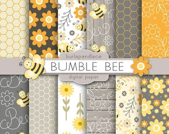 Bumble Bee digital paper, yellow flower digital background, honeycomb patterns, digital paper scrapbooking, cards, orange, grey