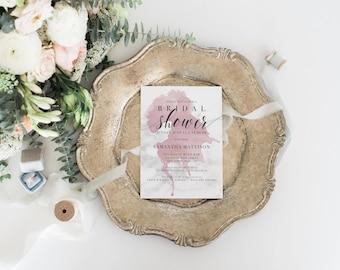 Marble Bridal Shower Invitation, Wine Splash, Vineyard Shower Invitation, Printable Invitations