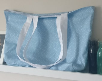 Handmade Sky Blue with Tiny White Lined Tote Bag - with internal pocket