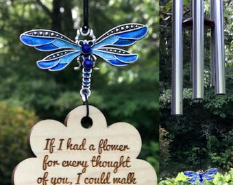 Wind Chime If I Had A Flower Memorial Gift After Death Loss Of Loved One In Memory of baby Dragonfly Garden Decor