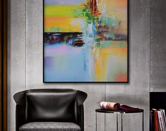 Abstract Painting, Red, Pink, Orange, Green, Black, Large wall art, Hand painted art on canvas, Modern oil painting wall art