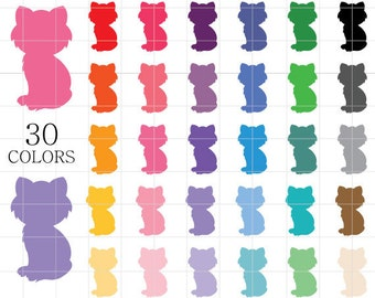 Cat Silhouette Clipart,  Cat Clip Art, Cat Shadows Clipart, Colorful Cats Clipart, Kitten Clipart, Rainbow Cats, Cats Digital Download