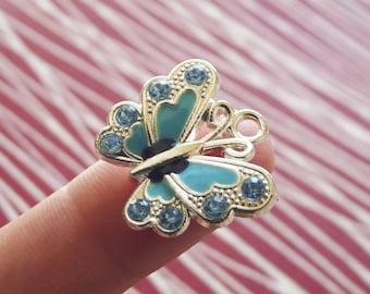 Butterfly Charms, Blue Butterfly Charms, Butterfly Pendants, Blue Enamel Butterfly Charms, Silver Plated Charm, Rhinestone Butterfly Pendant