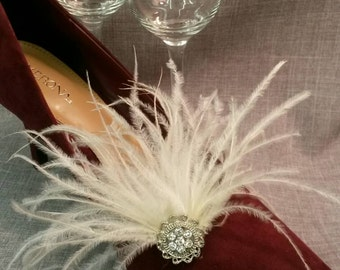 Ivory Ostrich Feather Bridal Shoe Clips