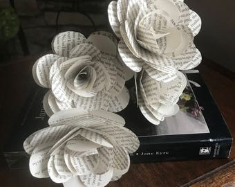 """Jane Eyre Book Roses, 3.5"""", Six or Eight or Twelve Count, Book Page Paper Roses"""