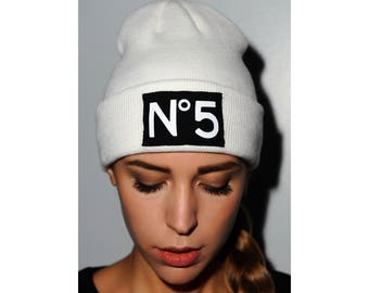 Beanie Acrylic woman hat with patch applied