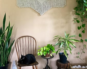 """Macrame Wall Hanging - Natural White Cotton Rope on 48"""" Wooden Dowel - Boho Home, Nursery Decor, Curtain, Headboard - MADE TO ORDER"""