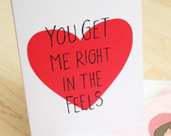 Funny Quirky Feels Valentines Card - Original Illustration