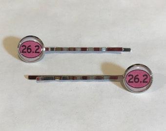 26.2 Marathon Pink Logo Bobby Pin Set
