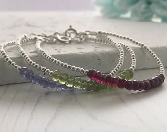 Dainty Bracelet, birthstone Bracelet, Beaded Bracelet, Stacking Bracelet, Delicate Bracelet, Gemstone Bracelet, Sterling Silver