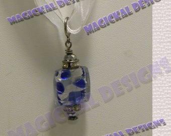 Cobalt, Royal Blue, Blue, Silver, Pendant, on multi strand Ribbon, necklace, stocking stuffer, teacher gift,