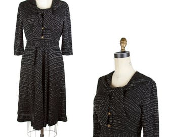 1950s Dress // Black with Silver Lurex Chevron Striped Dress with Shawl Collar