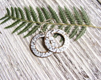 White Ring Earrings White Patina Brass Mixed Metal Earrings Textured Rings Silver Round Geometric Symmetry Hoop Minimalist