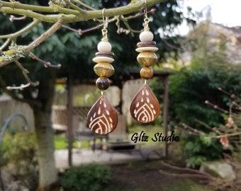 Etched Bone Earrings w/Tigers Eye, African Brass, Bone & 14K Gold Filled Leverback Ear Wires