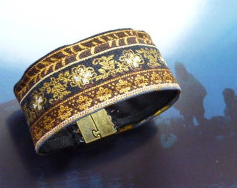 Fabric Cuff Bracelet with gold designs and magnetic clasp