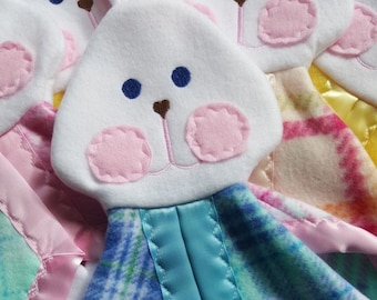 Replica Fisher Price Bunny 1980's replica blue plaid Lovey Security Blanket
