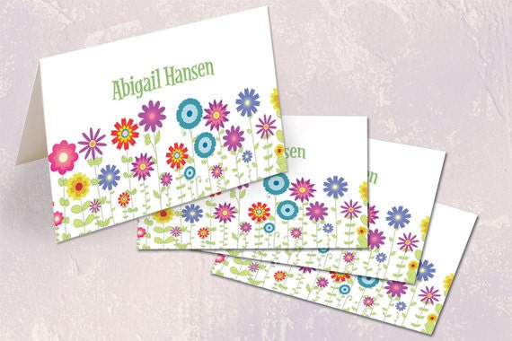 thank you cards, personalized thank you cards, mothers day gift ideas, notecard set, floral stationary, flower patch thank you cards, PS113