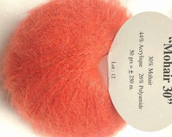 1 balls of yarn / coral / MOHAIR / kid mohair / made in France