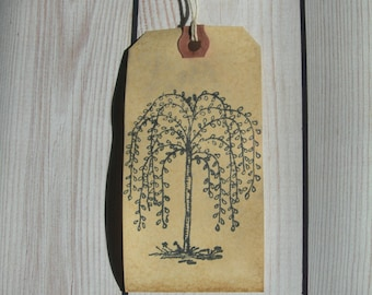 Hang Tags Primitive Willow Tree  Farmhouse chic Paper Craft supply set 25 Tags