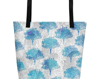 Beach Bag with Blue trees and gray abstract background.