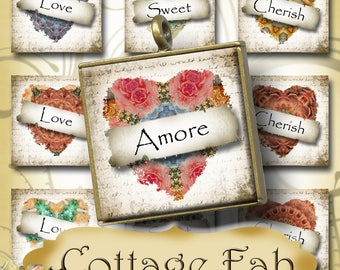COTTAGE FAB•1x1 Love Heart Images•Printable Digital Images•Cards•Gift Tags•Stickers•Magnets•Digital Collage Sheet