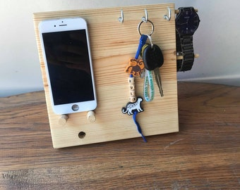 handmade bedside table tidy with phone holder