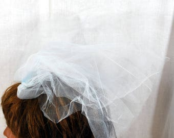 Vintage Soft Blue Netting Hair Comb - Bridesmaid Bride Bridal