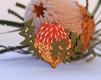 Wood Flower Brooch-Australian Wildflower Brooch-Australian Flower-Hand Painted Brooch Handpainted Brooch-Wood Brooch-Menzies Banksia