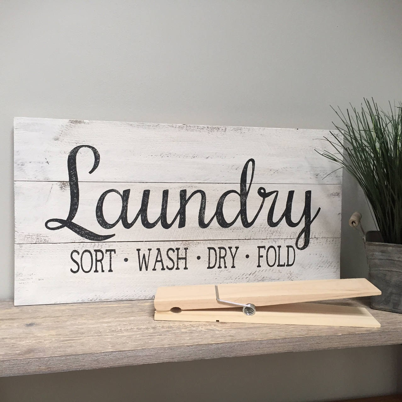 Wooden Laundry Sign Prepossessing Laundry Co Personalized Sign Canvas Or Wood Planked Wash Review