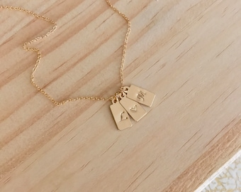 Handstamped Gold Initial Necklace. Safe for sensitive skin - 14k goldfill. Gift. Free shipping!