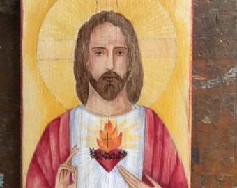 Sacred Heart if Jesus Hand Painted Wood Icon READY TO SHIP