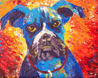 "Art Painting - Dog - PALETTE KNIFE -  Art Painting On Canvas Panel By Irena Rudman - Size : 9"" x 12"" (22.8 cm x 30.4 cm)"