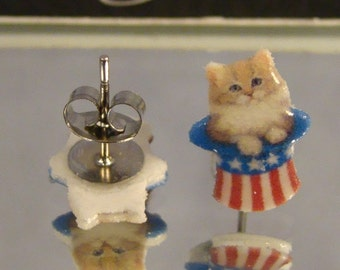 Uncle Sam Cat Dangle earrings - Americana Jewelry - Independence Day