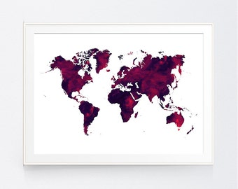 Yellow gray world map print mustard and grey world map wall dark red world map burgundy world map print marron world map print world gumiabroncs Image collections