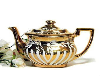 Gibsons Staffordshire Teapot Gold and White England