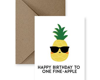 Funny Birthday Card for Friend Funny Birthday Card for Him Cute Birthday Card for Her Cute Birthday Card for Boyfriend Pineapple Gifts