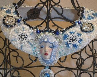 "Bead Embroidery Statement Bib Necklace ""Snow Angel"" OOAK EBEG Team Bead Fest 1"