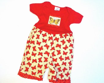 Red Butterfly Baby Girl Capri Romper Baby Girl Outfit 100% Cotton Boutique Baby Girl Clothes Baby Romper With Snaps Red Yellow 3 6 9 12 18 m