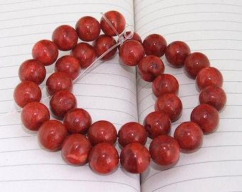 Red Sponge Coral Beads --- 12mm --- Round Ball beads --- 34 Beads --- Hole 1mm --- 15 inch Full strand