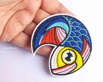 large Fish patch tropical applique Japanese Koi Fish iron on patches