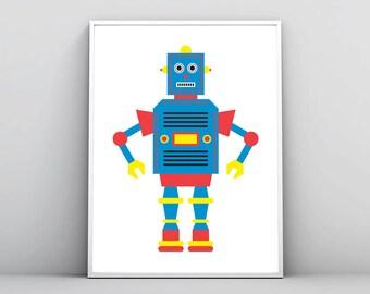 Blue Robot Print, Toy Illustration, Kids Room Decor, Nursery Wall Art, Boy Baby Children, Large Printable, Robot Poster, Digital Download